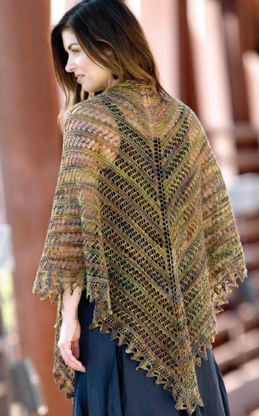 вязание ажурной шали