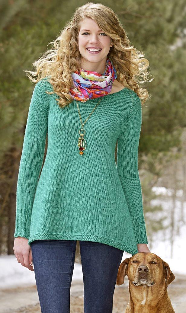 Пуловер реглан от горловины