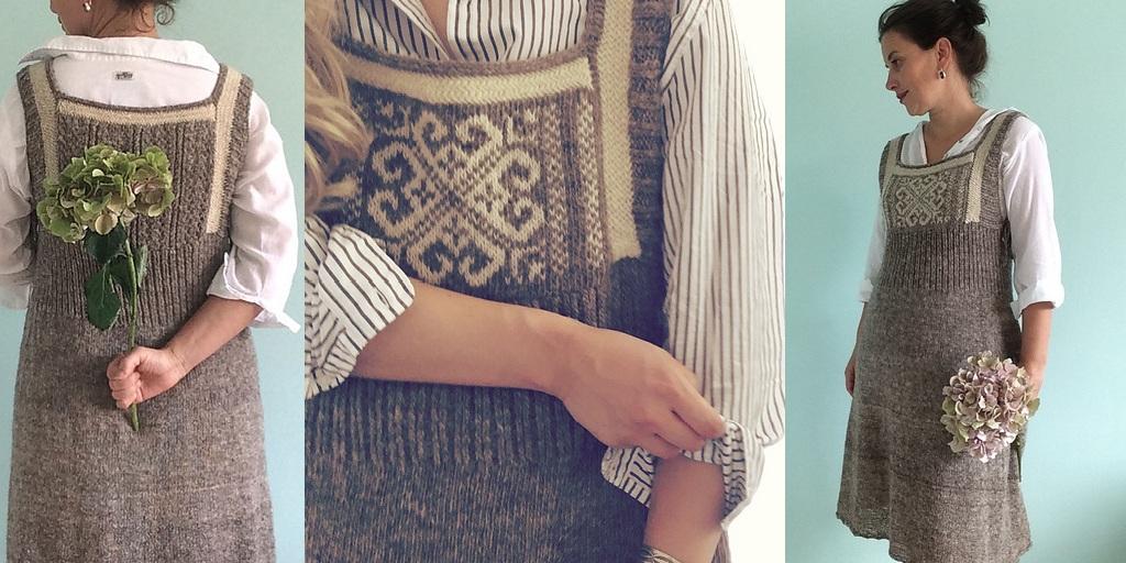 Платье сарафан вязанное спицами