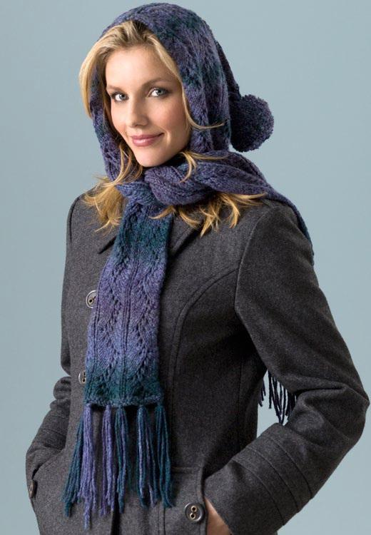 Вязание шарфа – капюшона