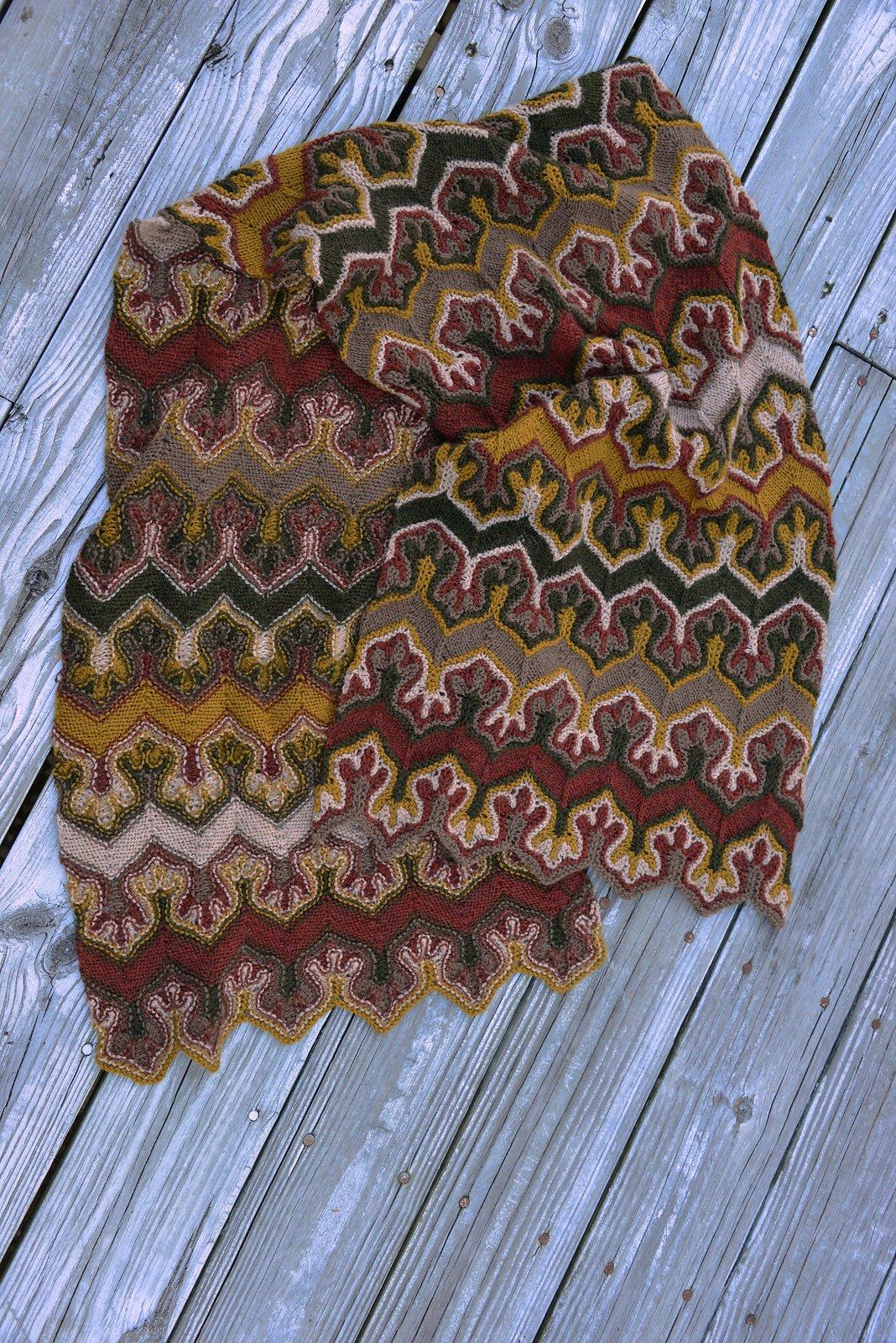 мужской шарф с эффектным узором схема