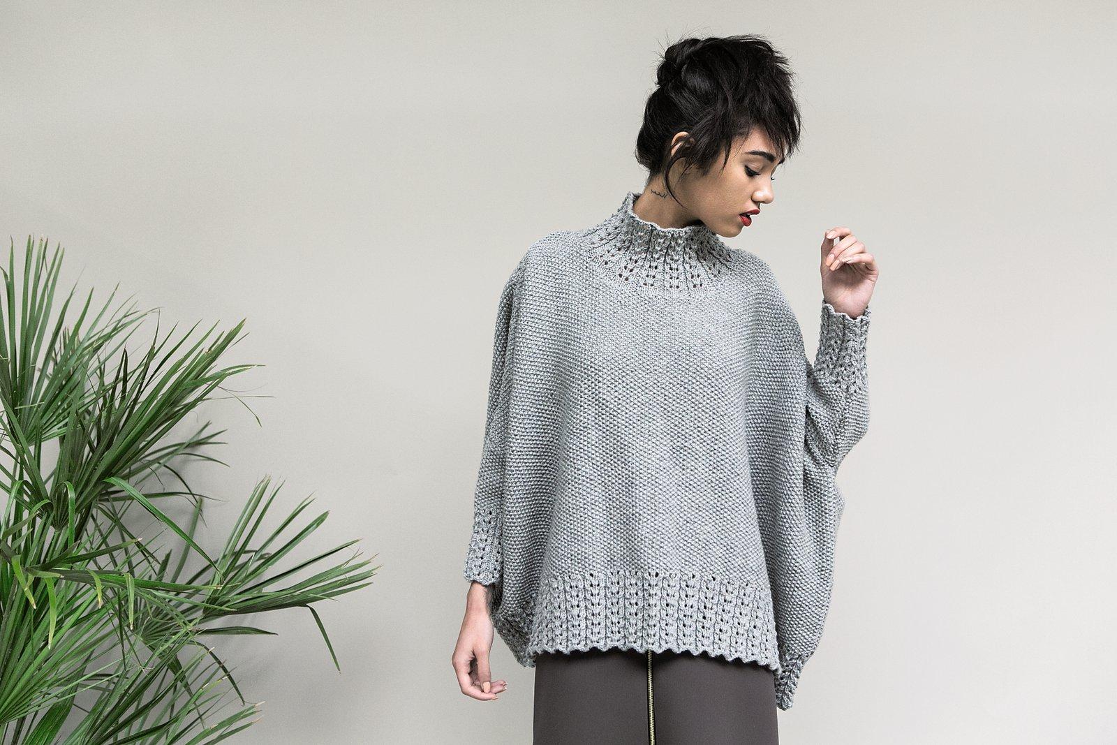 схема вязания модного свитера спицами