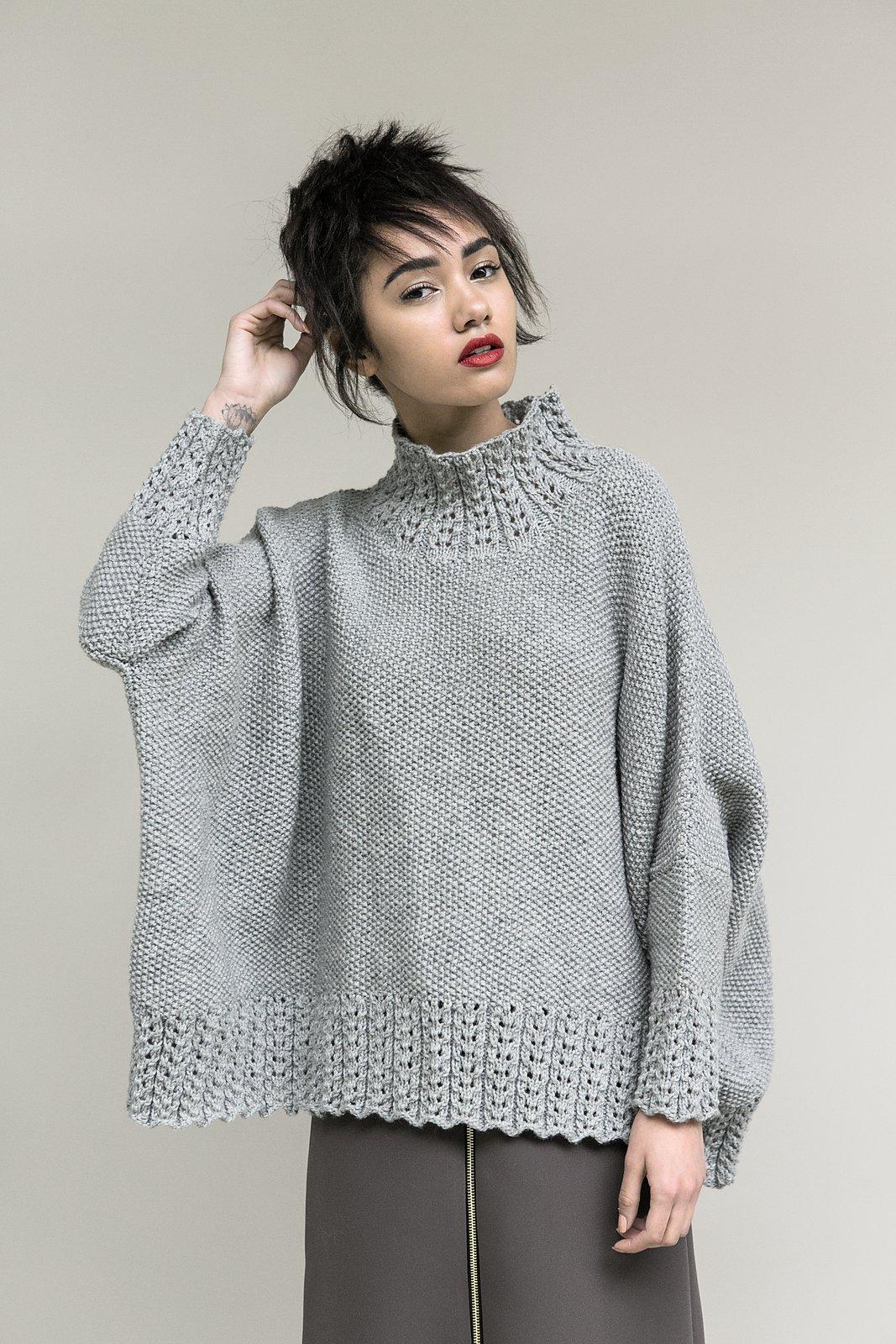 вязаный свитер спицами схема платочная вязка