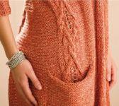 Вязание кардигана с вставными карманами Coralline