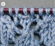 Бисер добавлен в вязаное полотно