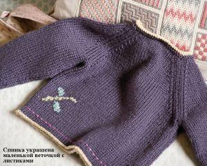 Вязание для малышей кофточки спицами Kimono rose