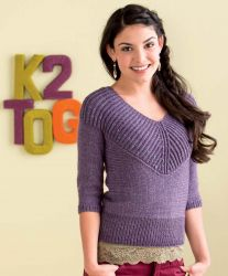 Вязание женского пуловера с глубоким V вырезом