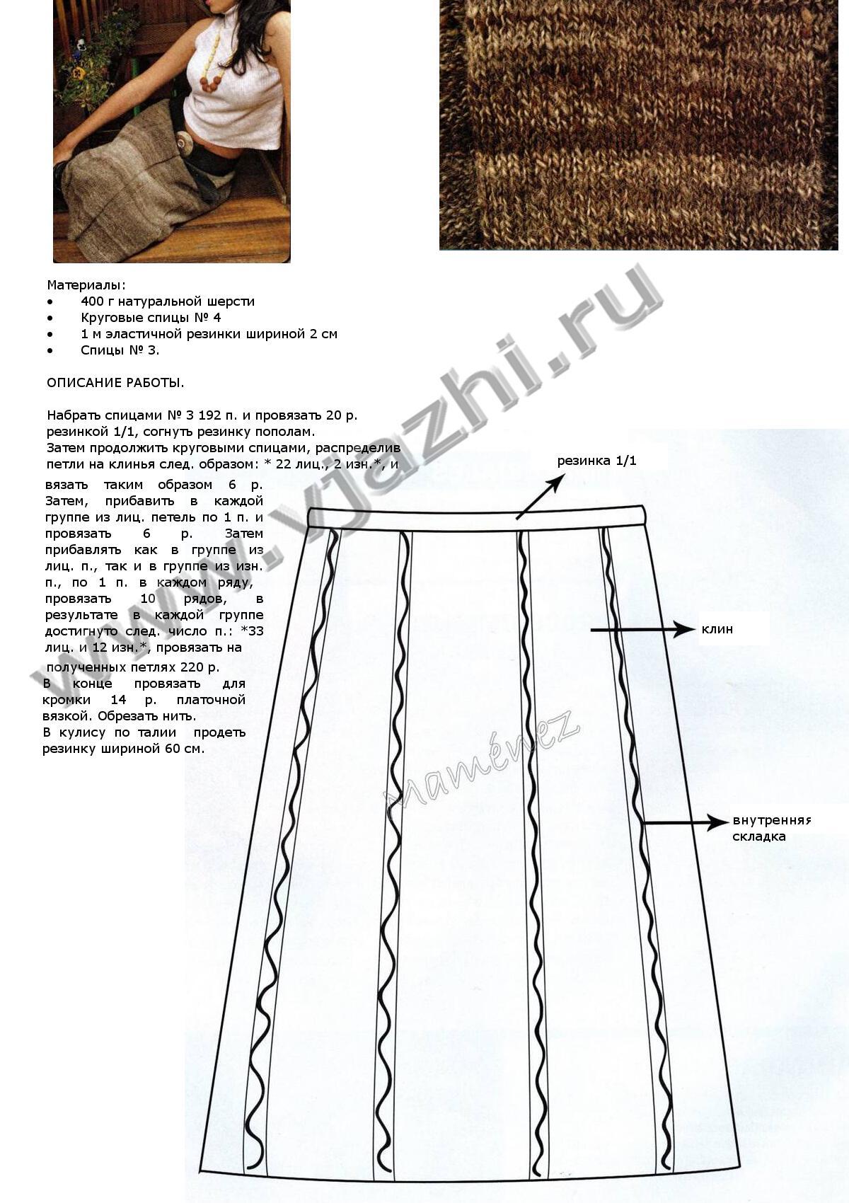 Схема вязания юбки в складку фото