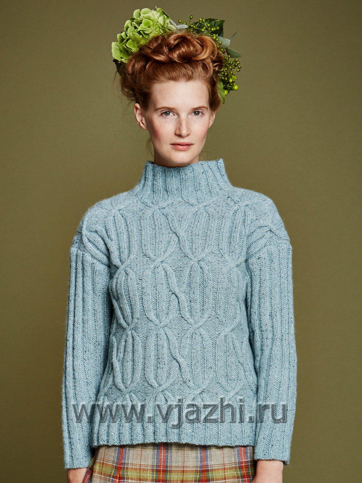 белый великолепный ажурный свитер спицами простая схема