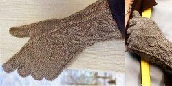 Женские перчатки с красивыми манжетами спицами