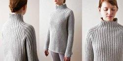 Бесшовный пуловер резинкой вязаный спицами от Purl Soho