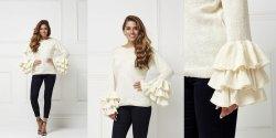 Пуловер с воланами на рукавах вязаный спицами