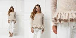 Пуловер с пышной баской спицами