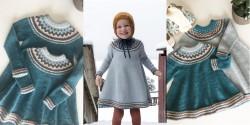 Детское платье спицами с круглой кокеткой