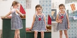 Детское платье в морском стиле, связанное спицами