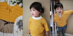 Детский пуловер с рукавами-доломан, связанный спицами