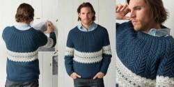 Мужской пуловер с круглой кокеткой косами