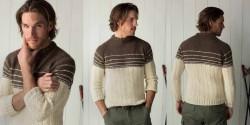 Мужской пуловер с косами и полосками