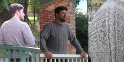 Мужской свитер необычным узором спицами