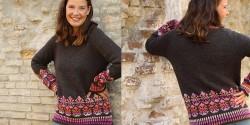 Пуловер с жаккардом по низу