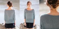 Пуловер-оверсайз с ажурным низом и манжетами