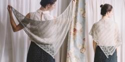 Ажурная шаль из льна спицами