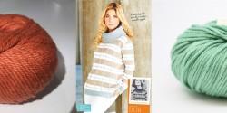 Пуловер клетчатым узором спицами