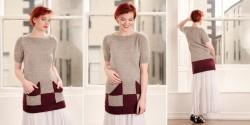 Туника с контрастными карманами, связанная спицами
