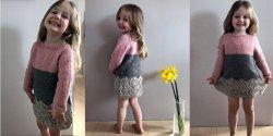 Вязаное спицами по кругу платье для девочки