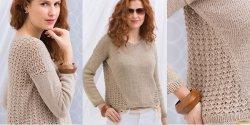 Пуловер с ажурной спиной спицами описание Vogue 2018
