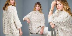 Объемный пуловер спицами с описанием их схемой из Vogue