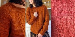 Пуловер с косами спицами без швов