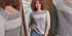 Пуловер укороченными рядами спицами с описанием