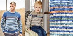 Пуловер для мальчика и папы спицами