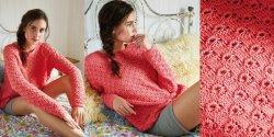 Летний пуловер спицами для женщин