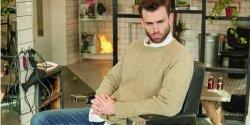 Мужской пуловер реглан спицами