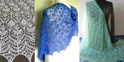 Ажурная шаль спицами схемы и описание