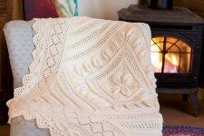 Вязаный плед для новорожденного Cottage, плед детский, вязание  спицами, вяжиру