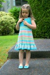 Вязаное летнее платье для девочек Оттенки лета