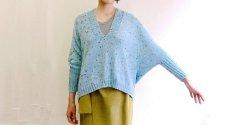Пуловер с удлиненным регланом спицами
