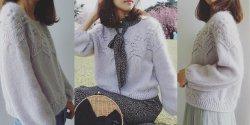 Пуловер оверсайз с ажурной кокеткой от Ирены Линь