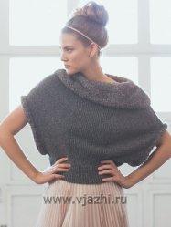 Вязание спицами для женщин безрукавки с меховым воротником, модель с описанием