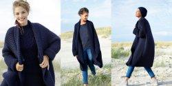 Широкое пальто платочной вязкой спицами