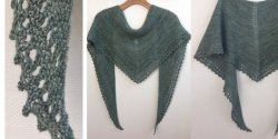 Простая шаль платочной вязкой спицами