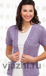 Вязание спицами для женщин жакета с ажурными планками