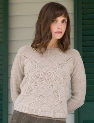 Вязание спицами для женщин модели пуловера с витым узором кос