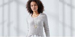 Пуловер вязаный резинкой