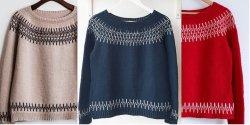 Пуловеры в круглой кокеткой спицами