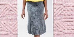 Женская вязаная юбка с косами