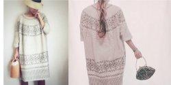 Пышное платье миди в ретро стиле спицами с описанием